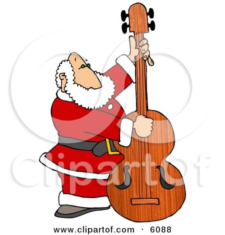 un bassiste de choix + autres (c'est de saison) 6088-Santa-Claus-Playing-Christmas-Music-On-A-Double-Bass-Clipart-Picture
