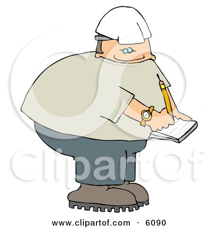 Male Worker Writing On Notepad Clipart Picture by djart