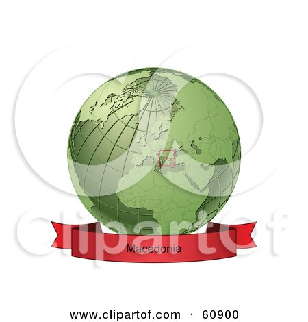Royalty-Free (RF) Clipart Illustration of a Red Macedonia Banner Along The Bottom Of A Green Grid Globe by Michael Schmeling