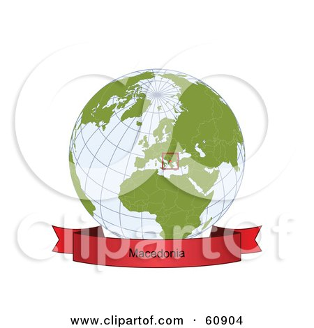 Royalty-Free (RF) Clipart Illustration of a Red Macedonia Banner Along The Bottom Of A Grid Globe by Michael Schmeling