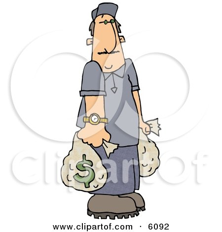 Wealthy Man Carrying Money Bags Clipart Picture