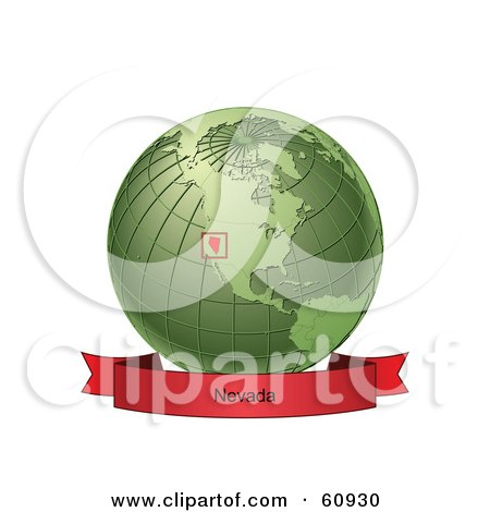 Royalty-Free (RF) Clipart Illustration of a Red Nevada Banner Along The Bottom Of A Green Grid Globe by Michael Schmeling