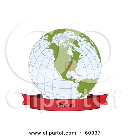 Royalty-Free (RF) Clipart Illustration of a Red Missouri Banner Along The Bottom Of A Grid Globe by Michael Schmeling