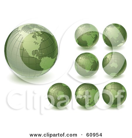 Royalty-Free (RF) Clipart Illustration of a Digital Collage Of Green Grid Globes Featuring Different Continents by Michael Schmeling