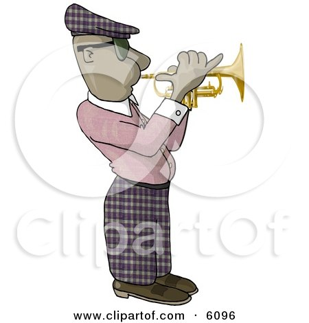 African American Man Playing a Trumpet Clipart Picture by djart
