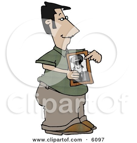 Proud Dad Representing a Photograph of His Son in the Military Clipart Picture by djart