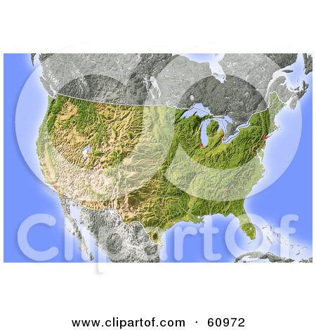 Royalty-free (RF) Clipart Illustration of a Shaded Relief Map Of The United States by Michael Schmeling