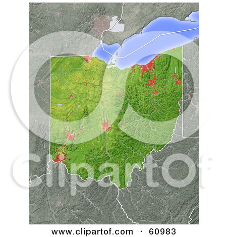 Royalty-free (RF) Clipart Illustration of a Shaded Relief Map Of The State Of Ohio by Michael Schmeling