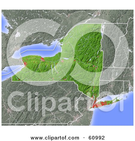 Royalty-free (RF) Clipart Illustration of a Shaded Relief Map Of The State Of New York by Michael Schmeling