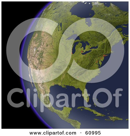 Shaded Relief Map Of North America As Seen From Space Posters, Art Prints