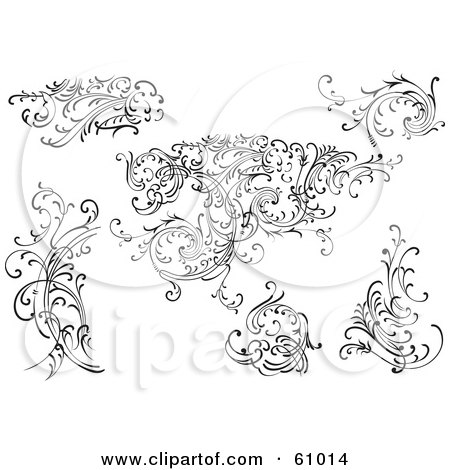 Royalty-free (RF) Clipart Illustration of a Digital Collage Of Black And White Leafy Floral Scrolls And Design Elements - Version 4 by pauloribau