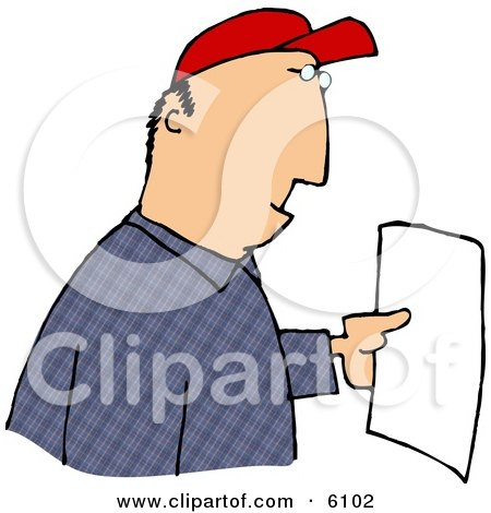 Man Reading a Letter Clipart Picture by djart
