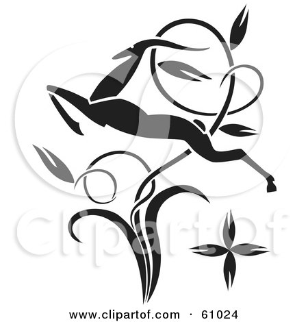 Royalty-free (RF) Clipart Illustration of a Black Leaping Antelope Through A Twisting Vine by pauloribau