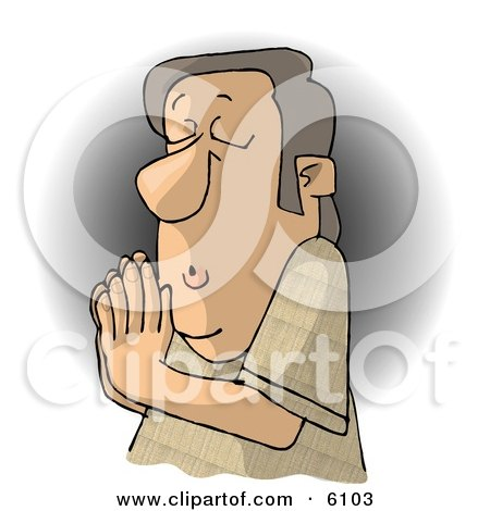 Religious Christian Man Praying to Jesus Clipart Picture by djart
