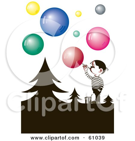 Royalty-free (RF) Clipart Illustration of a Little Boy Blowing Colorful Soap Bubbles Around Silhouetted Trees by pauloribau