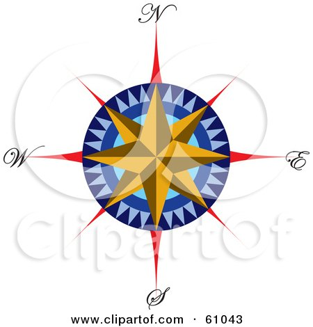 Royalty-free (RF) Clipart Illustration of a Colorful Wind Rose With A Star by pauloribau