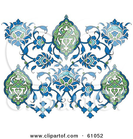 Royalty-free (RF) Clipart Illustration of an Ornate Blue And Green Floral Butterfly Design On White by pauloribau