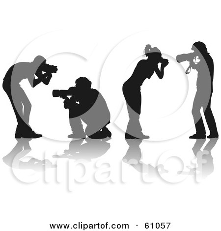 Royalty-free (RF) Clipart Illustration of a Digital Collage Of Four Silhouetted Male And Female Photographers Holding Cameras by pauloribau
