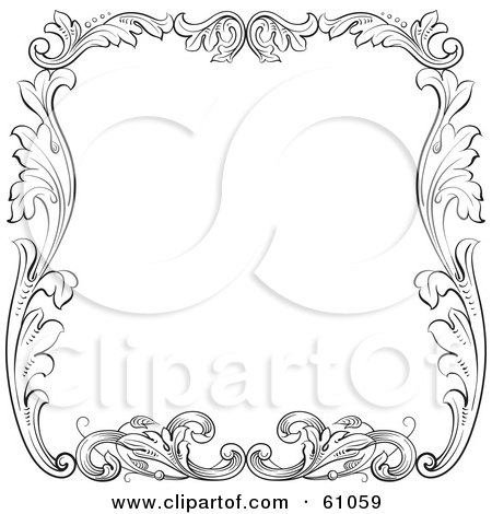 Royalty-free (RF) Clipart Illustration of a Black And White Floral Leaf Border Around White by pauloribau
