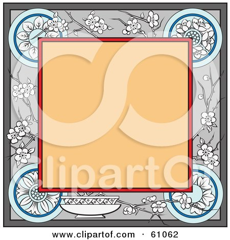 Royalty-free (RF) Clipart Illustration of a Blank Tan Square Bordered In Floral Blossoms And Designs by pauloribau