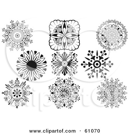 Royalty-free (RF) Clipart Illustration of a Digital Collage Of Black And White Ornamental Design Elements - Version 1 by pauloribau