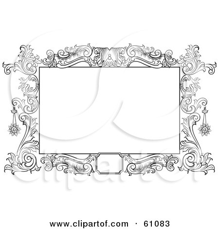 Royalty-free (RF) Clipart Illustration of a Beautiful Black And White Floral Scroll Frame Around A Blank Text Box by pauloribau