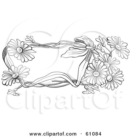 Royalty-free (RF) Clipart Illustration of a Black And White Daisy Flower Text Box by pauloribau