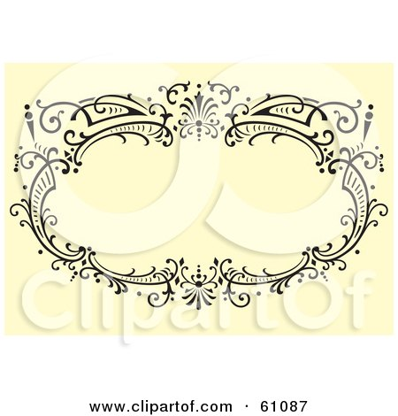 Royalty-free (RF) Clipart Illustration of a Black Ornate Oval Frame On A Beige Background by pauloribau