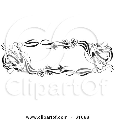 Royalty-free (RF) Clipart Illustration of a Black And White Trumpet Flower Text Box by pauloribau