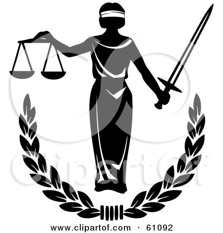 Royalty-free (RF) Clipart Illustration of Blind Justice Holing Scales And A Sword Over A Laurel by pauloribau
