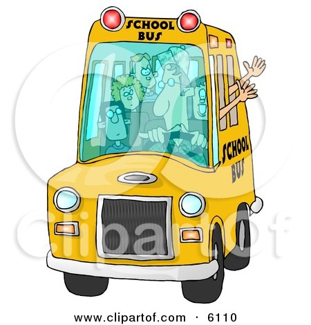 Bus Driver Man Driving a School Bus Full of Elementary School Students Clipart by djart