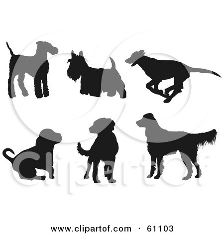 Royalty-free (RF) Clipart Illustration of a Digital Collage Of Six Dark Brown Dog Silhouettes; Terriers, Greyhound, Hound, Labrador, Golden Retriever by pauloribau