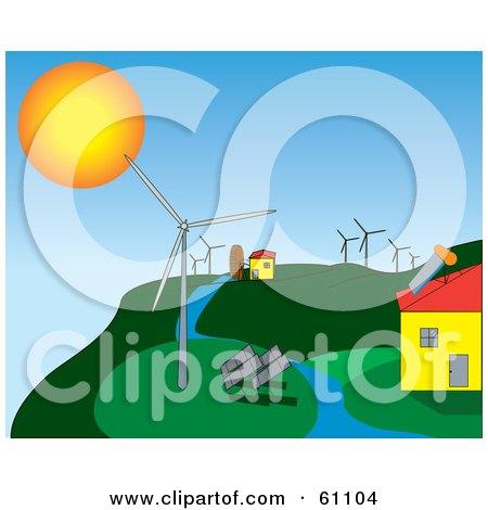 Royalty-free (RF) Clipart Illustration of a Solar And Wind Energy Hillside Farm by pauloribau