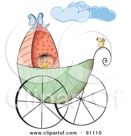 Royalty-free (RF) Clip Art Illustration of a Yellow Bird Perched On The Rail Of A Baby Carriage, The Baby Peeking Over The Edge by pauloribau