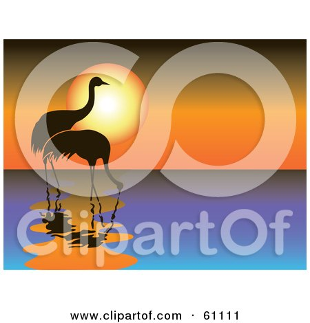Royalty-free (RF) Clipart Illustration of Two Silhouetted Cranes Wading In Water Against An Orange Sunset by pauloribau