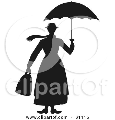 Royalty-free (RF) Clipart Illustration of a Black And White Woman's Silhouette Carrying A Bag And Umbrella by pauloribau