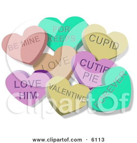 Clipart Illustration of Valentine Candy Lover Hearts Clipart by djart