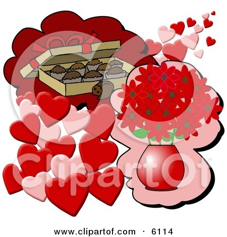 Box of Chocolate Candies and a Vase of Red Flowers With Hearts for Valentines Day Gifts Posters, Art Prints