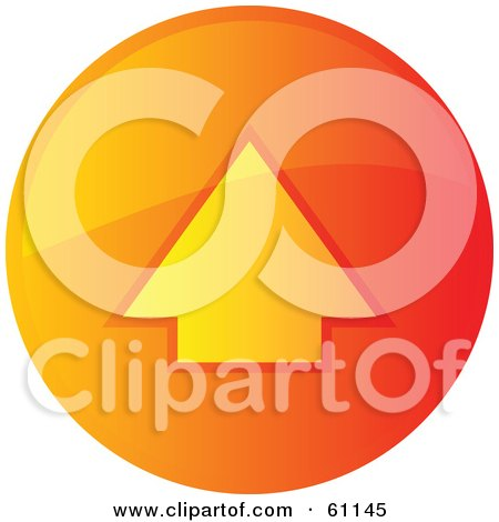 Royalty-free (RF) Clipart Illustration of a Round Orange Uploading Internet Browser Button by Kheng Guan Toh