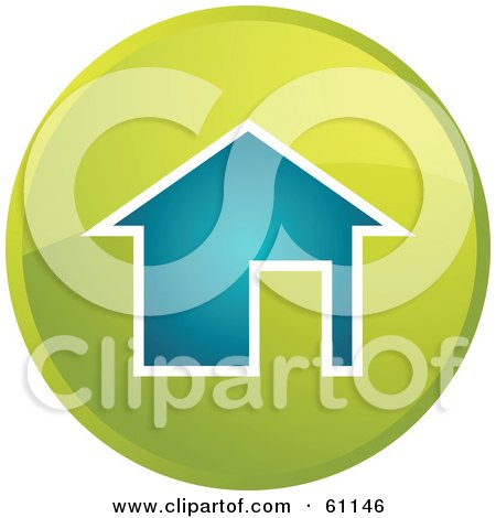 Royalty-free (RF) Clipart Illustration of a Round Home Internet Browser Button by Kheng Guan Toh