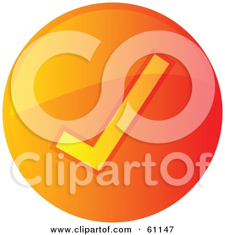 Royalty-free (RF) Clipart Illustration of a Round Orange Check Mark Internet Browser Button by Kheng Guan Toh