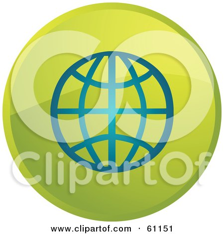 Royalty-free (RF) Clipart Illustration of a Round Green Globe Internet Browser Button by Kheng Guan Toh