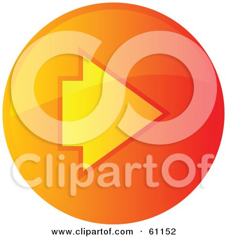 Royalty-free (RF) Clipart Illustration of a Round Orange Forward Internet Browser Button by Kheng Guan Toh