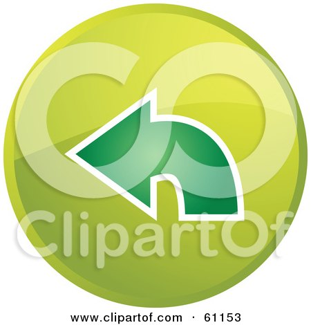 Royalty-free (RF) Clipart Illustration of a Round Green Return Arrow Internet Browser Button by Kheng Guan Toh