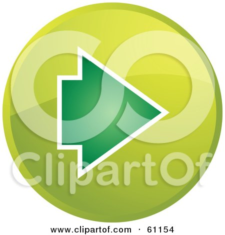 Royalty-free (RF) Clipart Illustration of a Round Green Forward Arrow Internet Browser Button by Kheng Guan Toh