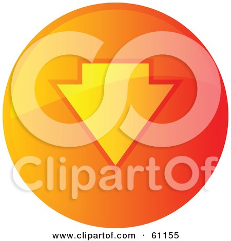 Royalty-free (RF) Clipart Illustration of a Round Orange Download Internet Browser Button by Kheng Guan Toh