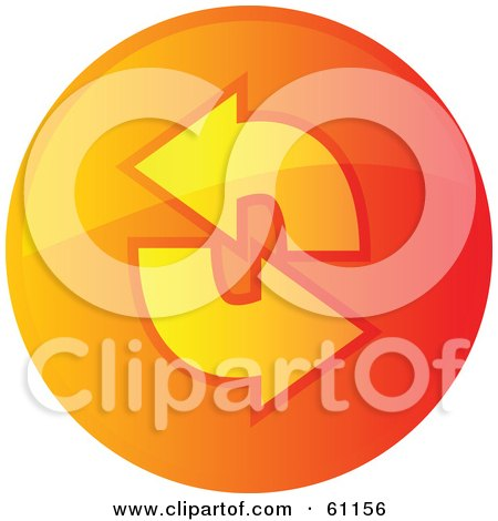 Royalty-free (RF) Clipart Illustration of a Round Orange Refresh Internet Browser Button by Kheng Guan Toh