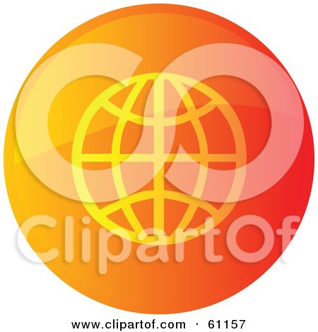 Royalty-free (RF) Clipart Illustration of a Round Orange Wire Globe Internet Browser Button by Kheng Guan Toh