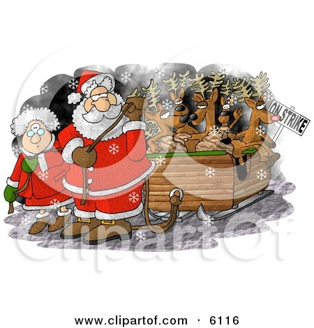 Santa Claus and Mrs Claus Pulling Toys and Reindeer Santa's Sleigh Because the Reindeer are on Strike on Christmas Clipart by djart