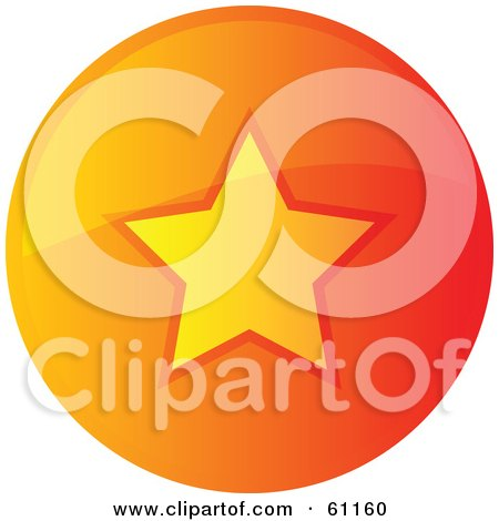 Royalty-free (RF) Clipart Illustration of a Round Orange Favorite Internet Browser Button by Kheng Guan Toh